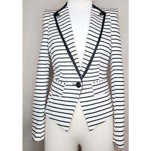 Forever 21 White Striped Blazer
